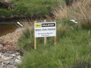 Water vole habitat protection